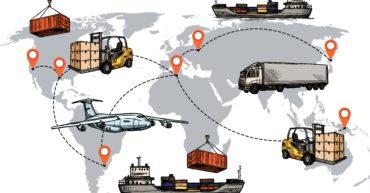 un planisphère recouvert de lignes pointillées, qui montre un lien entre chaque pays. On peut aussi y voir des camions de avions de bateaux ou des outils de logistique.